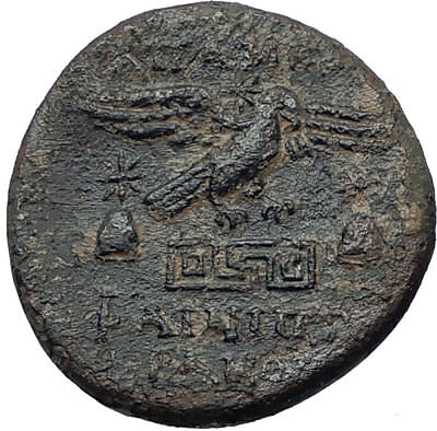 APAMEIA PHRYGIA 88BC Athena Gemini Caps Eagle Original Ancient Greek Coin i68065