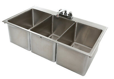 3 Bowl Stainless Steel Commercial Drop In Sink