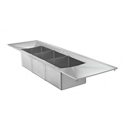 3 Bowl Large Drop In Sink with 2 Drain Boards