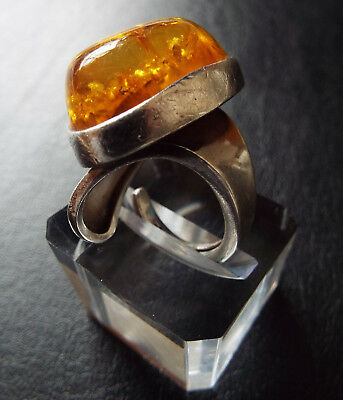 1960s / 70s HUGE Vintage Sterling Silver Polish Amber Dome Chunky Statement Ring