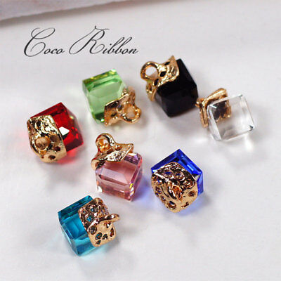 14pcs Faceted Cube Glass Rhinestone Charm Pendants Earring Jewelry Finding H19