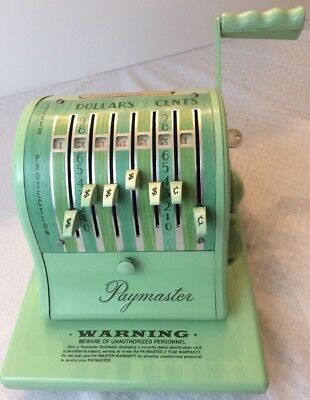 Vintage Paymaster Series S-1000 Check Writer Embosser stamper Machine With Key