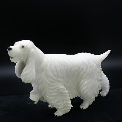 "Faberge White Calcite Afghan Dog 9"" Long"