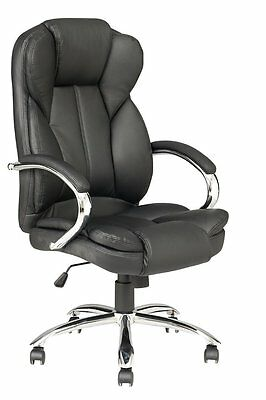 Office Chairs Black PU Leather Executive High Back Recliner Computer Desk Swivel