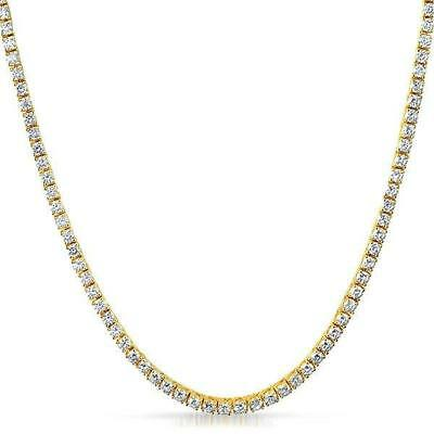 3MM CZ 1 Row Tennis Iced Out Chain Hip Hop Gold Necklace Bling Bling