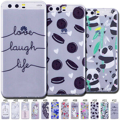Clear Gel Case Cover TPU Back Silicone Cute Soft Rubber Slim Skin For Huawei P10