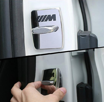 BMW M Sport 4pcs/set Car Door Lock Cover Styling Buckle Chrome Alloy All Series.