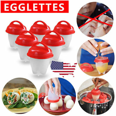 2018 Hot Egglettes Egg Cooker Hard Boiled Eggs without the Shell 6 Egg Cups USA