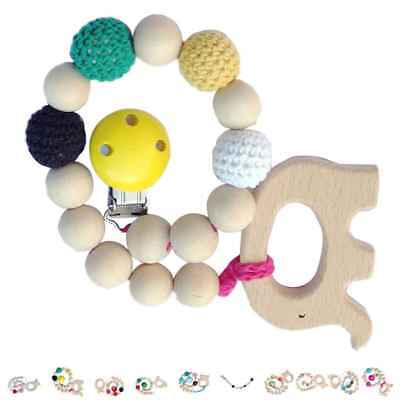 Baby Infant Natural Wooden Beaded Pacifier Holder Clip Chain Nipple Teether