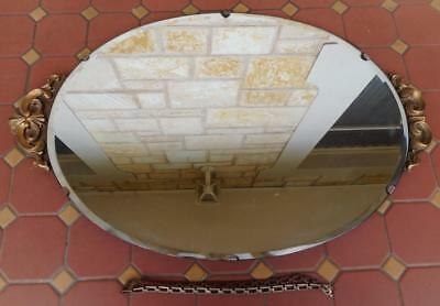 c.1940's Art Deco Oval Shaped Bevelled Edged Wall Hanging Mirror Original Chain