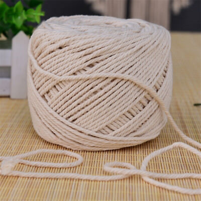 5mm 65M Macrame Rope Natural Beige Cotton Twisted Cord Artisan Hand Craft NEW EA
