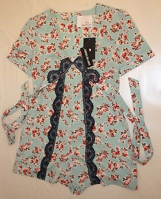 NEW Signature 8 Womens Sz L Romper Style ID362 Turquoise Floral Navy Lace NWT