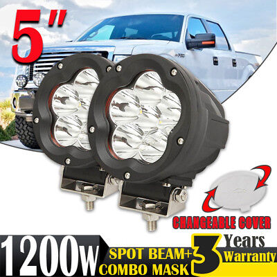 2x 5inch 1200W CREE LED Driving Light Work Lamp Headlight Offroad Spot Black HID