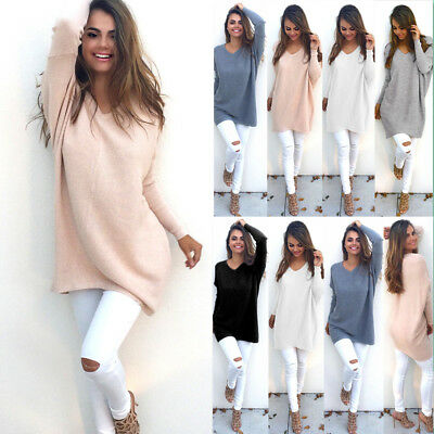 Womens Long Sleeve V Neck Tops Pullover Ladies Knitted Sweater Jumper Dress AU