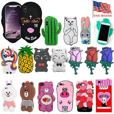 For iPhone Series X New Cute 3D Cartoon Animal doll Silicone Rubber Case Cover