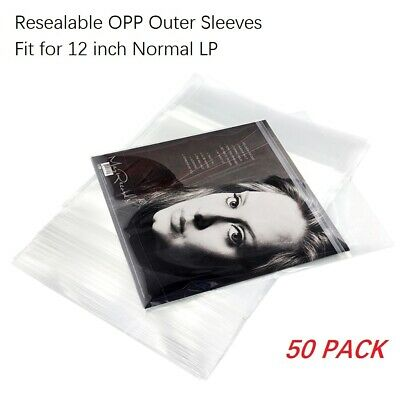 50 Resealable Plastic Vinyl Record Outer Sleeves for 12'' LP GATEFOLD Envelope