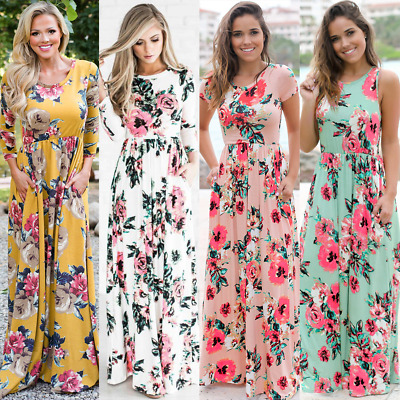 Women Boho Floral Evening Party Beach Prom Ball Gown Long Maxi Plus Size Dresses