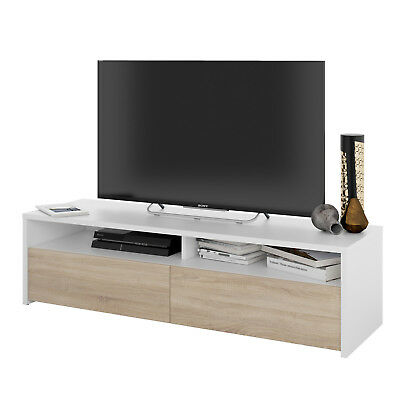 Mesa multimedia para TV estilo minimalista color blanco y roble canadian 130 cm