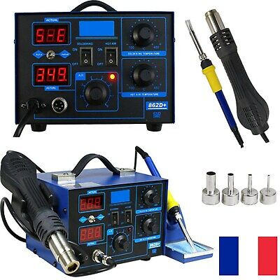 2in1 Fer à Souder Rework Station de Soudage SMD Air Chaud Soudure 862D+ 720W LCD