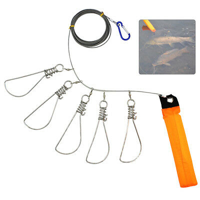 2 Packs 5 Locks Fishing Stringer Live Fish Lock Clip Buckle Stainless Rope Float