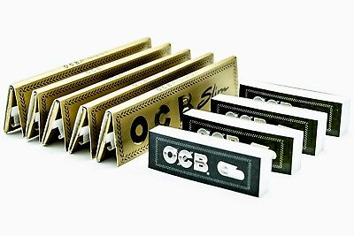 5 OCB Gold Premium King Size Slim Rolling Papers and 4 OCB Perforated Roach Tips