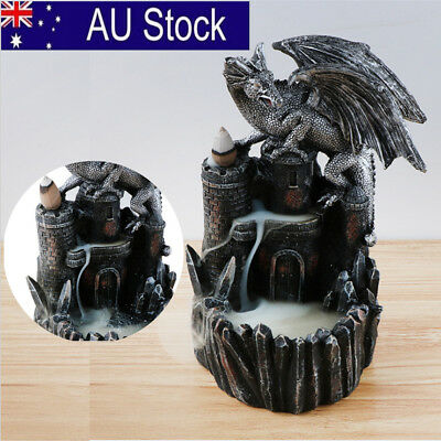 Dragon Backflow Ceramic Smoke Tower Cone Incense Burner Holder Buddhist Gift