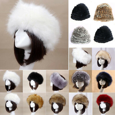 Women Russian Fluffy Rabbit Fox Faux Fur Hat Headband Winter Earwarmer Ski Hats