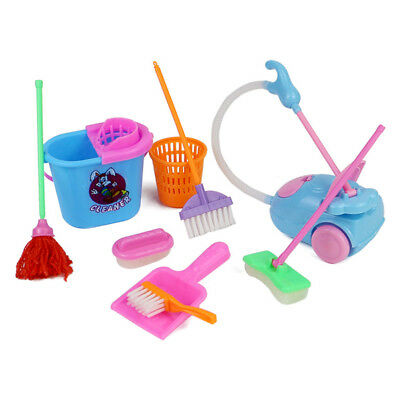 9Pcs/Set Cute Mini House Cleaning Mop Broom Tools Pretend Play Kids Kitchen Toys