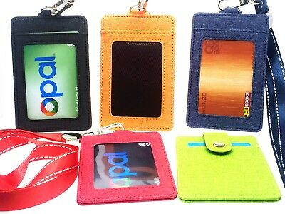 Canvas Card Case Holder  Lanyard ID Fashion Bus Portable String 3 Cards Hold