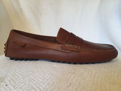 Cole Haan Light Brown Leather Driving Faux Penny Loafer Shoes Mens 11 M Slip On