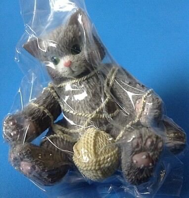 Enesco Calico Kittens Figurine A Playful Afternoon Gray Cat w Box and COA 112429