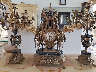 Clock Baroque Style Fireplace Clock With Candlesticks #ja35