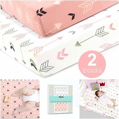 Girls Soft Crib Sheets Pack Of 2 Pink Baby Stretchy Fitted Mattress Covers