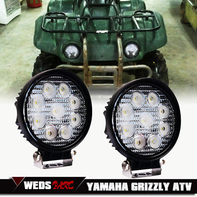 2X 4INCH 54W Round LED WORK LIGHT BAR Spot OFFROAD Yamaha Grizzly ATV Fog Lamps