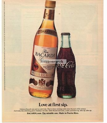 1983 BACARDI Rum and Coke Coca Cola Love At First Sip Vtg Print Ad Man Cave