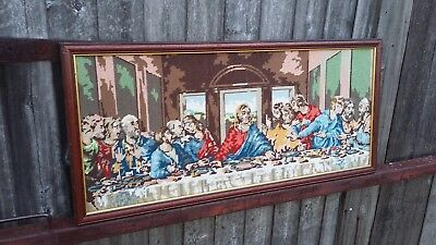 Vintage Tapestry Needlepoint The Last Supper.
