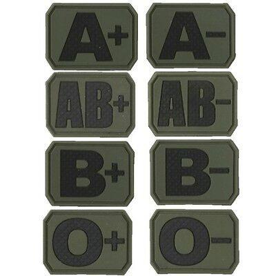 x2 TACTICAL BLOOD GROUP PATCH HOOK AND LOOP RUBBER BADGE MEDICAL ARMY AIRSOFT