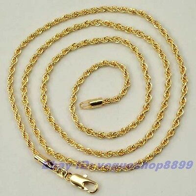 """24""""2mm6g REAL TWIST 18K CHAMPAGNE GOLD GP NECKLACE SOLID FILL ROPE CHAIN 4812n"""