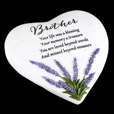 """Thoughts of You"" Lavender Stone Heart Memorial Plaque - Brother"