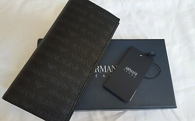 Armani Jeans Mens All Over Logo Pu Yen Wallet, Black, One Size