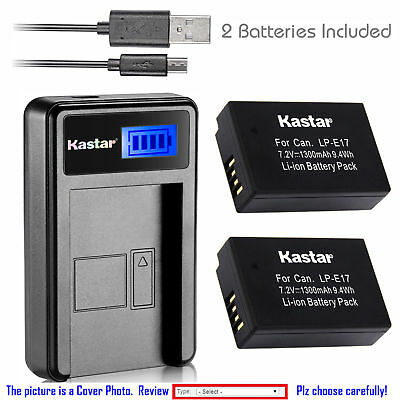 LP-E17 LC-E17 Battery or LCD USB Charger for Canon Rebel SL2 T6i T6s T7i, EOS M3