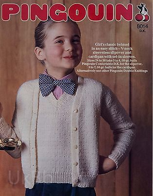 "Pingouin Knitting Pattern 8014 Girls Easy Stitch Twin Set 24-30"" Vintage NEW"