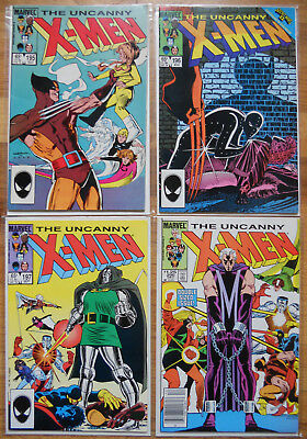 Uncanny X-Men (1st Series) #195-197, 200 Marvel 1985 LOT of 4 Magneto Wolverine