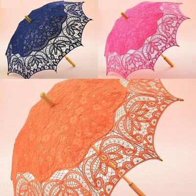 Bridal Umbrella Cotton Lace Embroidered Wedding Bride Parasol Umbrellas Orange