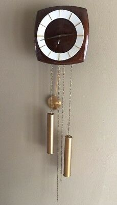 Junghans Wall Clock Weight Drive Pendulum Chime Wood Face Vtg Working See Video