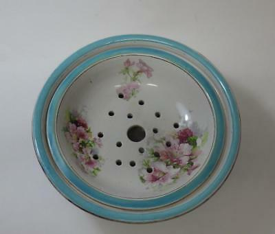 Large Antique Victorian 2 Piece Soap Dish Strainer Pretty Pink Blossoms