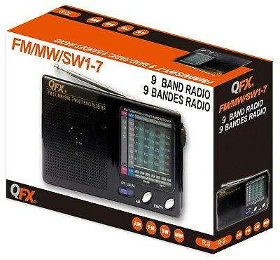 QFX R-9 Portable 9 Band Classic Style Radio AM FM SW Multi Band Receiver