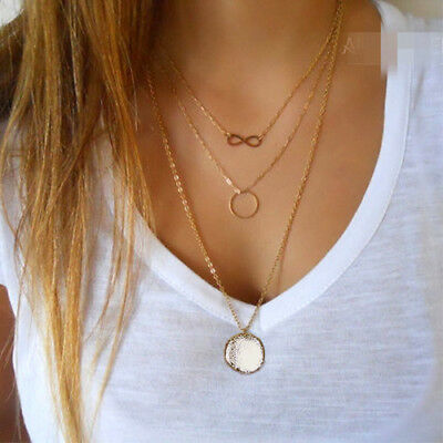 Gold Plated Triple Charmed Infinity Ring Drop Multi Layer Necklace B88