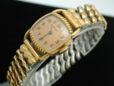 Vintage 1930S Rose Gold Filled Gruen Perfectly Wonderful Mans Wrist Watch