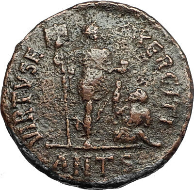 VALENTINIAN II w Labarum and Captive Authentic Ancient 383AD Roman Coin i67746